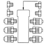 6 fach Verteiler Block für 4x6 Schläuche